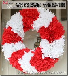 Red and White Chevron Wreath by virginiasweetpea.com