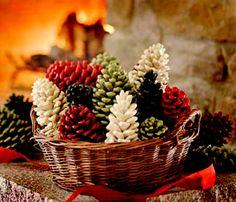 Festive pinecones - Pinecones and spraypaint. Simple yet pretty decor.