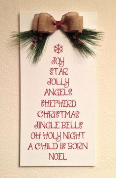 """Christmas Wall Hanging, Tree Shaped Christmas Words, 12""""x24"""""""