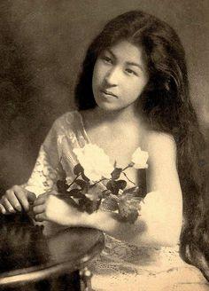 Japan. Portrait of a Japanese girl, c. 1905 Meiji-era.