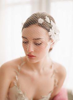 Bridal birdcage veil with flowers  Lace embellished von myrakim, $150.00