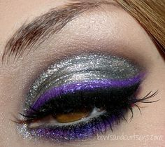 Silver with purple