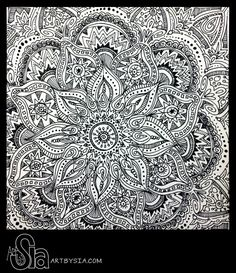 Original Zentangle Doodle Drawing - Modern Abstract Art - Pen and Ink - Home Decor - 8x8 Design by Sia