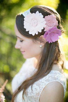 felt hair accessories, Love Gives Way collective http://ruffledblog.com/love-gives-way-wedding-shoot #wedding #hairaccessories