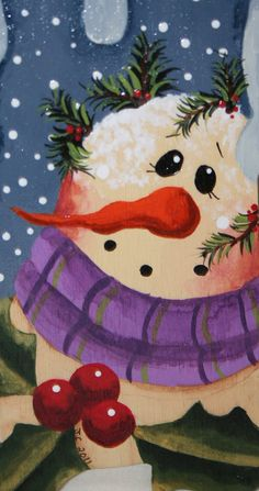 Ornament  Snowman  Hand painted on Wood  OFG by jennysfolkart, $5.99