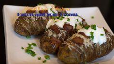 Hasselback Potatos bacon and sour cream