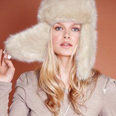 Cream fur flap hat
