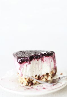 raw meyer lemOn vanilla bean cheesecake with blueberry topping