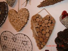 love the wood branch hearts