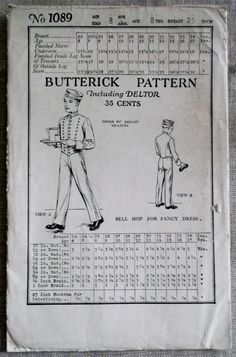 Very Rare 1920's Butterick 1089 Boys Bell Hop Uniform by DotisSpot, $124.95