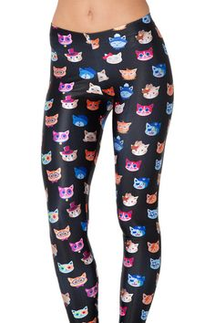 Who's That Cat Black Leggings (USA LIMITED/WORLDWIDE 48HR) by Black Milk Clothing $75AUD ($70USD)