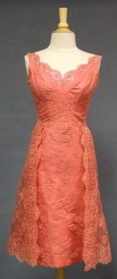 "Salmon-colored lace cocktail dress, American, c. 1960's. Label: ""Exclusively Designed and Custom Made by Iris Brex. West Englewood, New Jersey."" salmon lace, vintage lace, color, bridesmaid dresses, cocktail dresses, closet, lace dresses, vintage coral, vintag salmon"