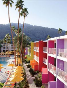saguaro hotel, california, palm springs, travel, place, rainbow, bright colors, palms, hotels
