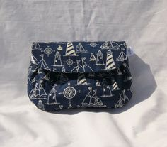 Nautical Blue and White Strapless Clutch bag by WeaversHomestead, $12.00