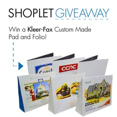 #WIN a customized pad + folio! Just follow, repin, and leave us a comment on our blog about what you'd love to be customized! Brought to you by Shoplet- everything for your business