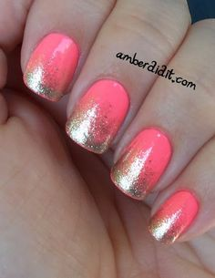 pink nail design with glitter