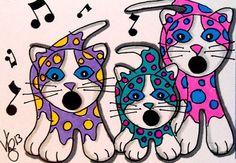 Aceo Original SINGING KITTIES 3  pencil/ink ON EBAY