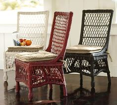 $199 darker color for round table in living room?  Delaney Rattan Dining Chair #potterybarn