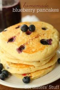 Six Sistes Homemade Fresh Blueberry Pancakes with Blueberry Syrup. A great way to start your morning!