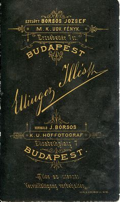 1880s, Ellinger Illés reverse/verzó | Flickr - Photo Sharing!