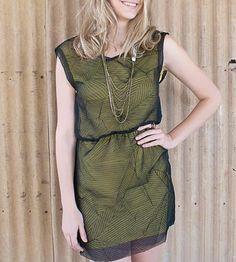Green Layered Crushed Chiffon Dress