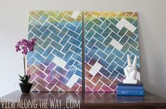 Make your own herringbone art on canvas with acrylics