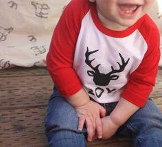 Baby Boy Buck Printed AMERICAN APPAREL Baseball Tshirt by DearCub - $17.00
