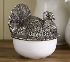 Sculpted Turkey Lidded Serve Bowl from Pottery Barn