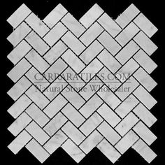 $12/sf Carrara Marble Italian White Bianco Carrera Herringbone Mosaic Tile Polished