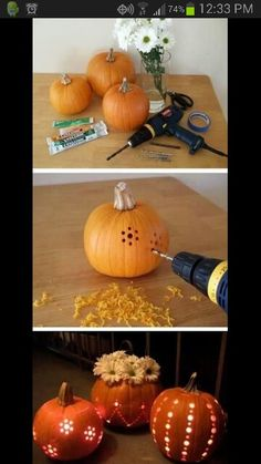 I'm going to do this for Thanksgiving! Wonderful Idea! Fall Decorations carving cute patterns into pumpkins