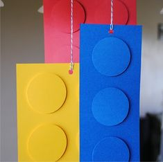 lego birthday party parti decor, hanging decorations, legoparti, birthday parties, lego parti, lego birthday, gift tags, birthday party decorations, birthday decorations