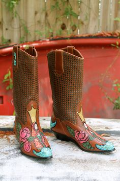 Vintage Hand painted Boots Lady of Guadalupe by amandarosebridal, $115.00