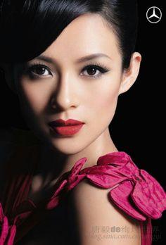 bridal makeup, red lips, zhang ziyi, lip colors, makeup looks, wedding makeup, hair, asian makeup, eye