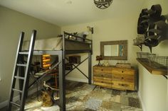 Industrial barn inspired loft bed. Heavy dark wrought iron compliments the aged woods. Boys Bedrooms, Boys Rooms, Rustic Contemporary, Rooms Ideas, Wood Shelves, Wire Baskets, Loft Beds, Kids Rooms, Modern Bedrooms