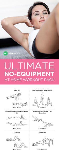 Visit https://WorkoutLabs.com/workout-packs/ultimate-at-home-no-equipment-workout-pack-for-men-women to download this Ultimate at Home No Equipment Workout Pack