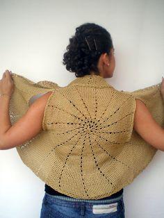 Sun Ring Fashion Shrug   Cotton Vest Woman Hand Knit by NonnaLia, $69.00