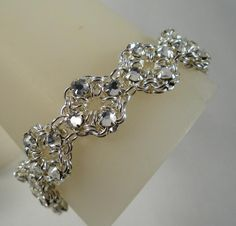 Free Chainmail Patterns Chain Maille   Chain Maille Flower Bracelet in White Swarovski Crystal ...