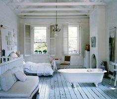 studio apartments, floor, shabby chic, dream, bathtub