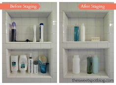 How to Sell House Fast!: Staging Shower by The Sweet Spot Blog   http://thesweetspotblog.com/how-to-sell-house-fast-declutter-staging/ #diy #sellhouse #staging #decor #makeover #beforeafter