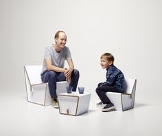 Kenno cardboard chair S and L by Showroom Finland, Design Heikki Ruoho