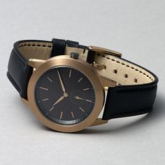 351 Series watch in brushed PVD rose gold with black leather strap by Uniform Wares. Available at Dezeenwatchstore.com #watches