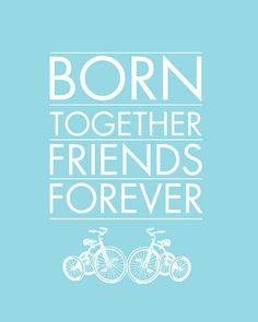 Born Together Art Print for Twins Nursery 8x10 by giraffesnstuff