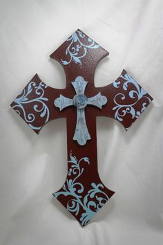 Brown Blue Floral Stacked Wall Cross