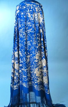 Antique Spanish Manton de Manilla sapphire blue shawl
