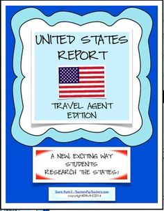 United States Reports Travel Agent Edition!! Your students will have fun as they role play as travel agents to research states. Small and large group activities. A highly motivating packet of 60 pages with ready to print worksheets. Fun! priced item
