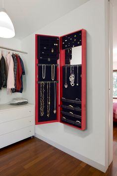 On-the-Wall Red Mirrored Jewelry Armoire