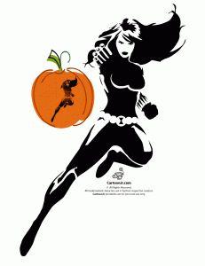 Black Widow Avengers Pumpkin Carving Pattern