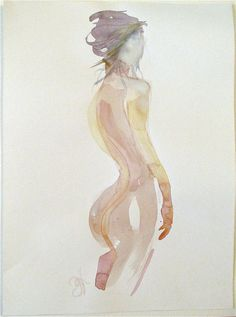 Nude 1203 original watercolor painting by Gretchen Kelly