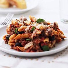 Penne with Meat Sauce ... anything with pasta in it goes over big in our house.