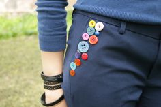 fashion, cloth, diy tutorial, boton, button crafts, button trouser, buttons, button embellish, kid